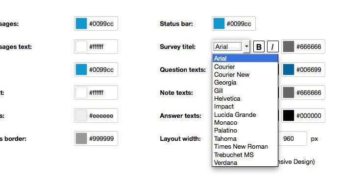 survey layout color