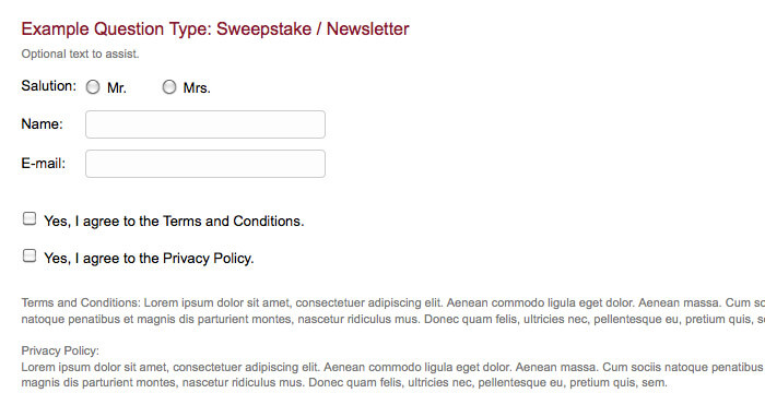 survey question type sweepstake newsletter