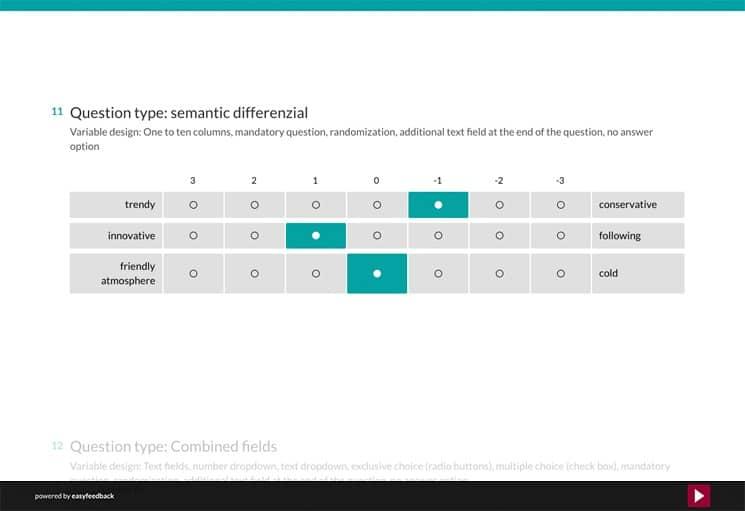 Question Type: Semantic Differenzial