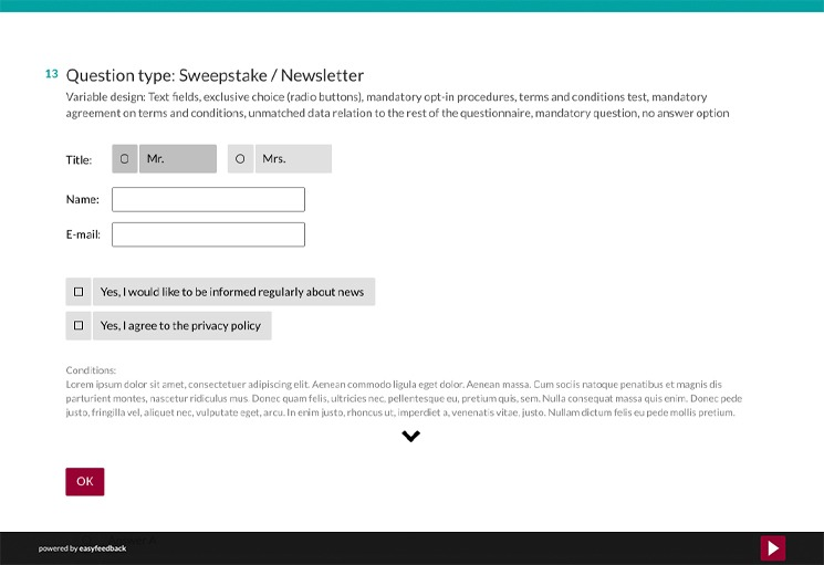 Question Type: Sweepstake and Newsletter Question