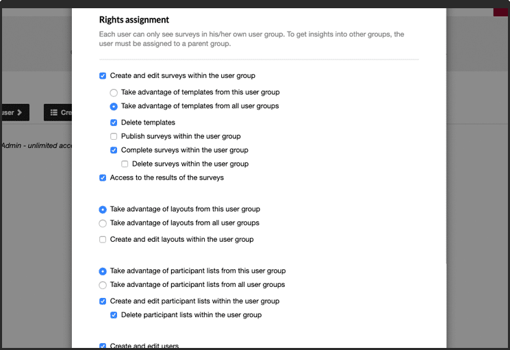 Survey tool - rights assignment