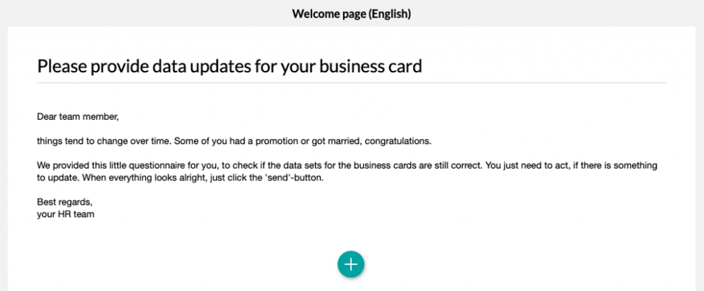 Business card details