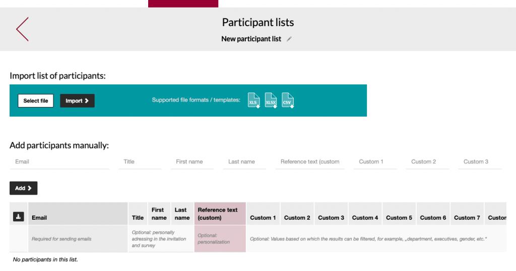 Import participant list