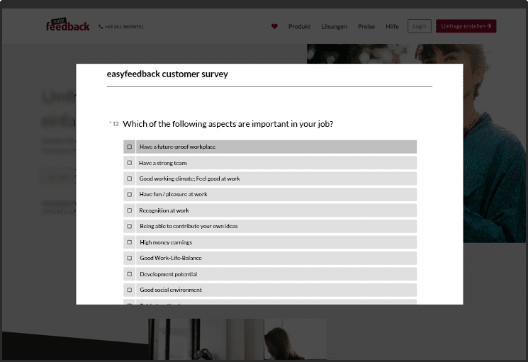 Place survey on the website