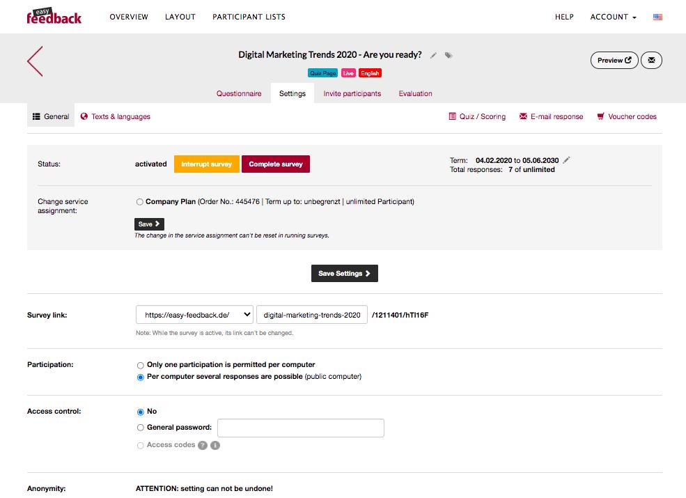 Edit your survey settings