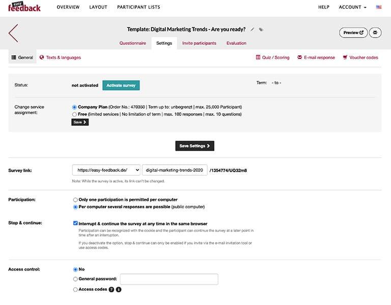 Edit your questionnaire settings